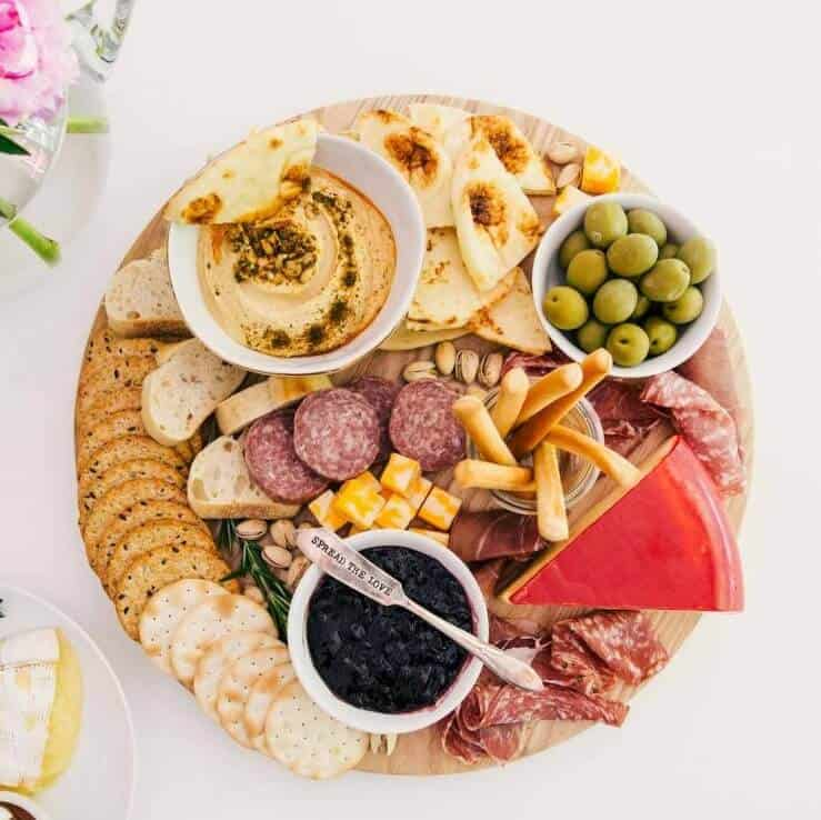 easy charcuterie board with meats, crackers, cheeses and more