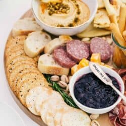 a close up of a charcuterie board