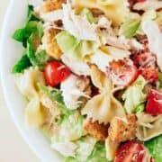 close up of chicken caesar pasta salad