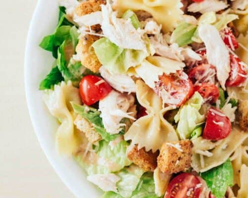 close up of chicken caesar pasta salad