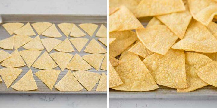 baking tortilla chips on baking sheet