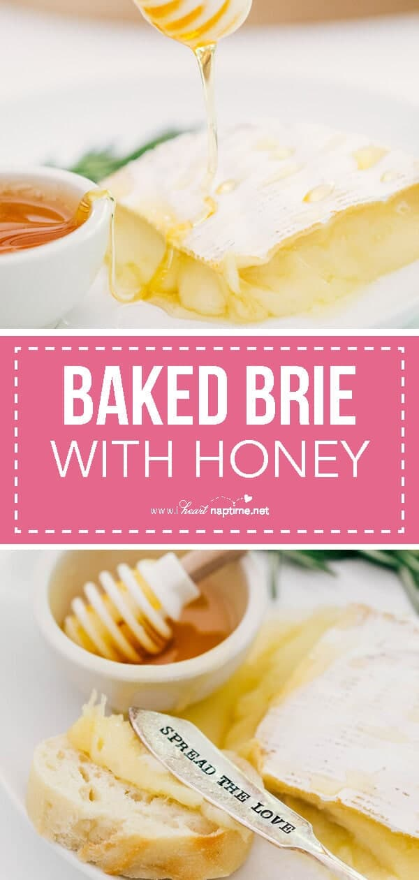 baked brie with honey collage
