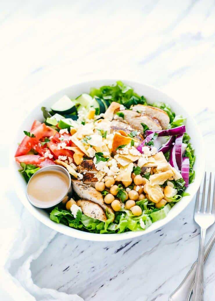 mediterranean salad with creamy balsamic dressing