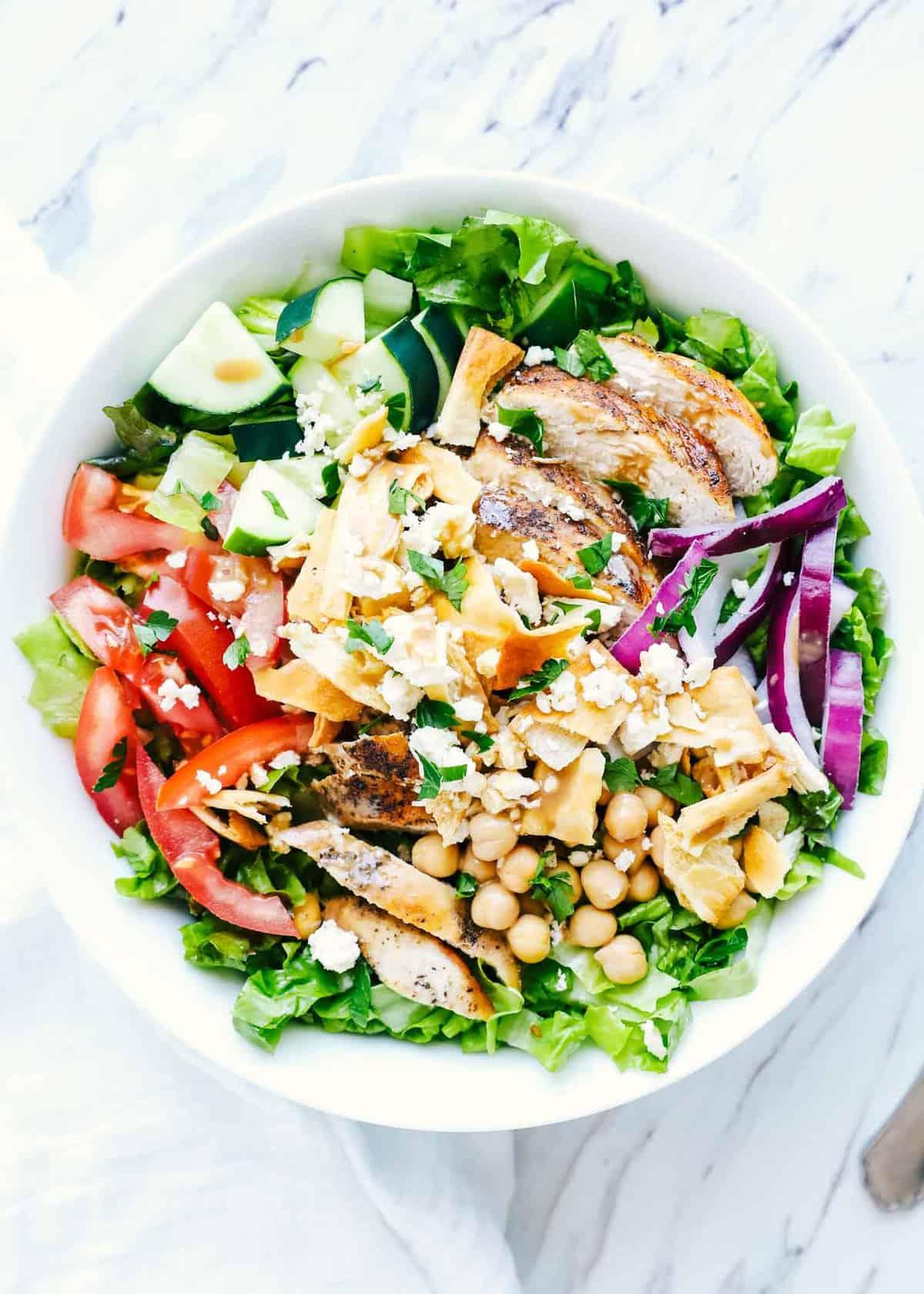 mediterranean salad in a white bowl