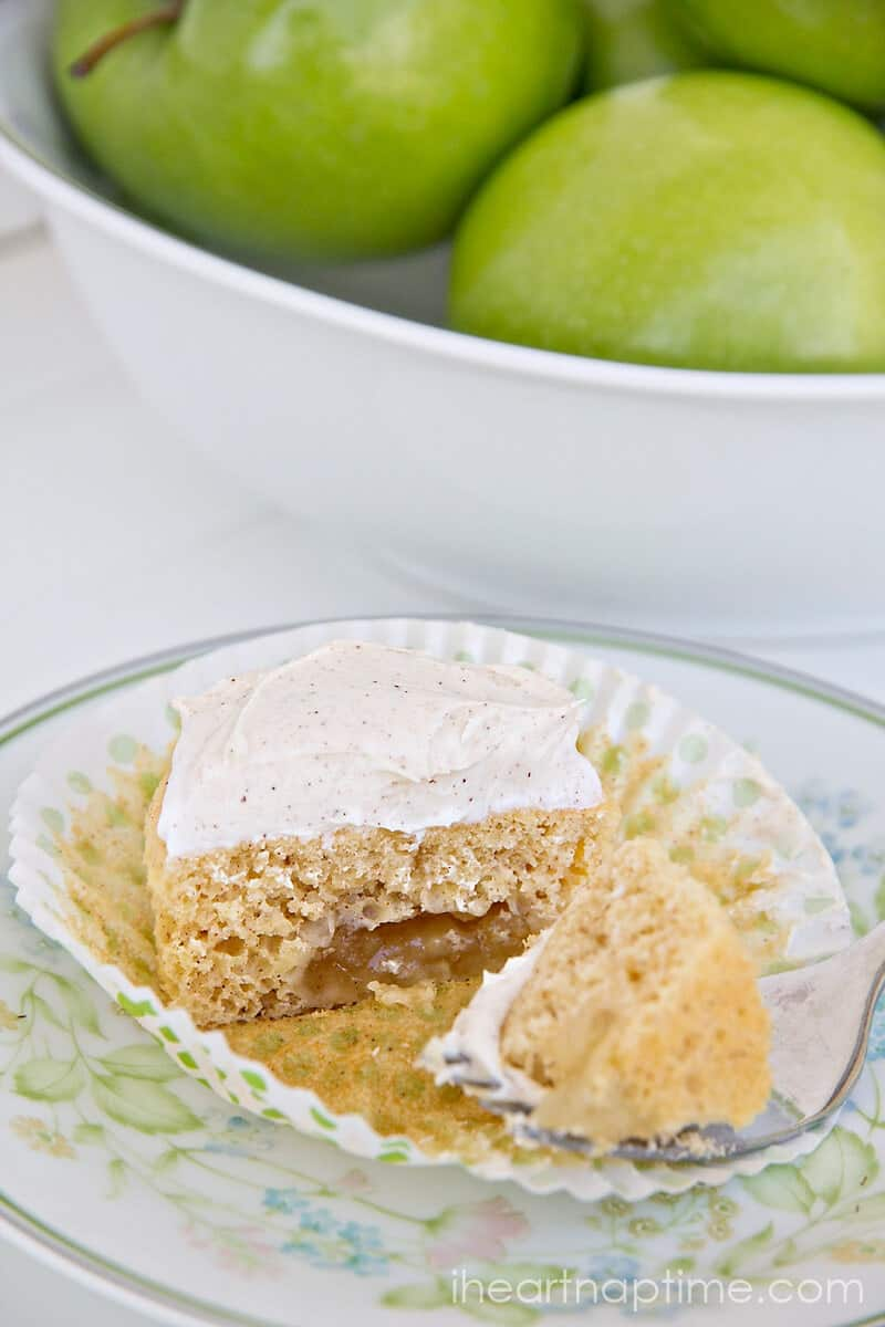 apple pie cupcake sliced in half