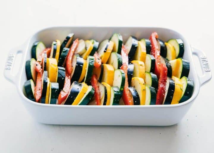 Ratatouille baked in a white dish
