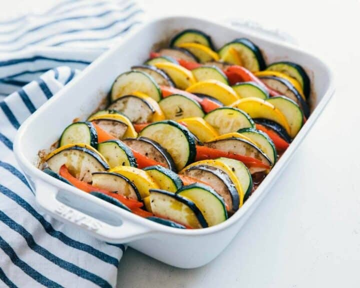 ratatouille in a white baking dish