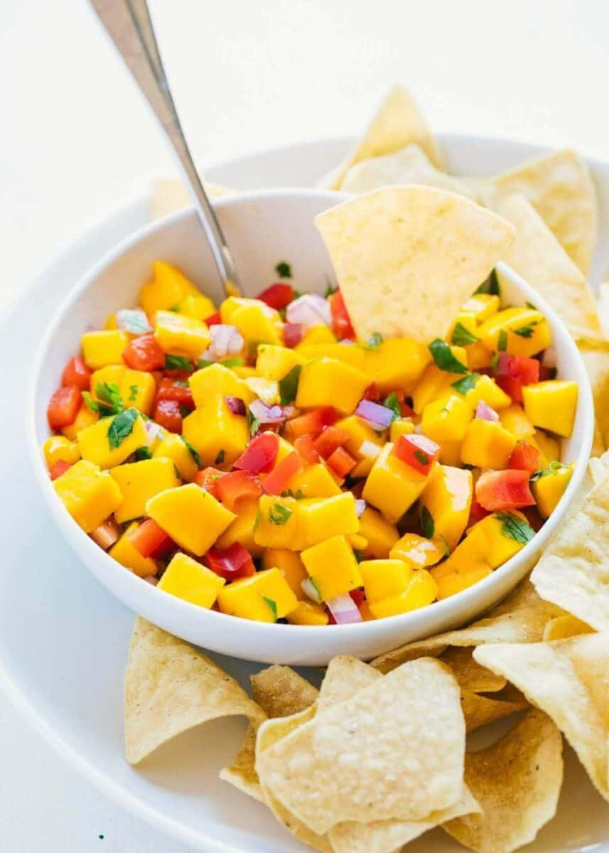 mango salsa served with tortilla chips
