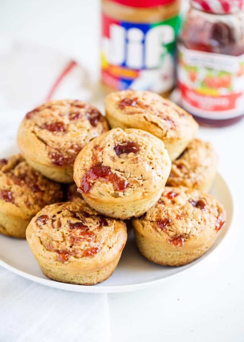 plate full of peanut butter and jelly muffins