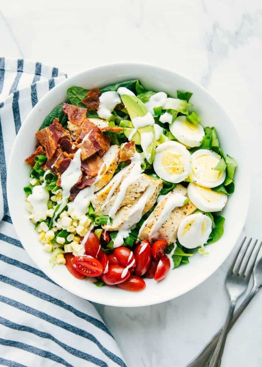 cobb salad drizzled with homemade ranch dressing