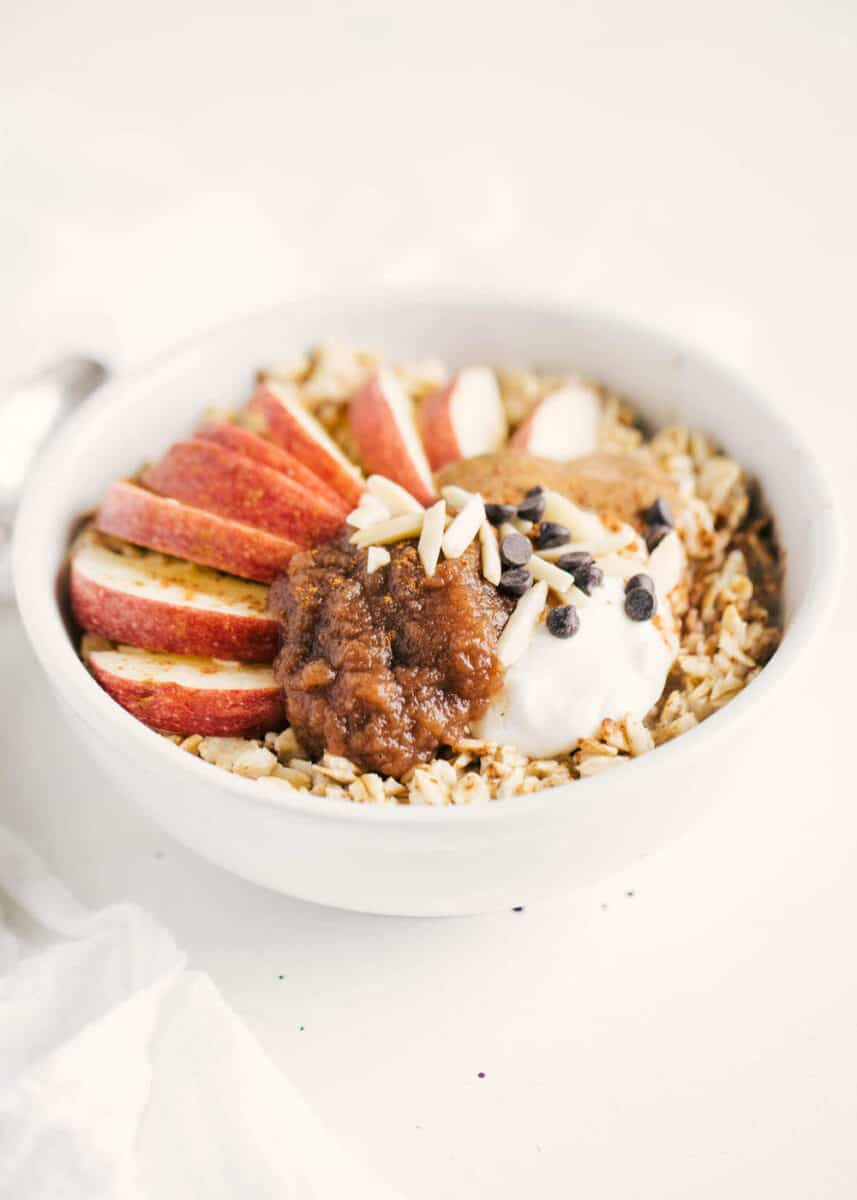 bowl of apple butter oatmeal