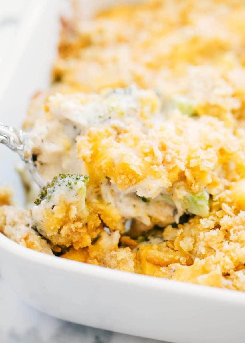 broccoli casserole in white casserole dish