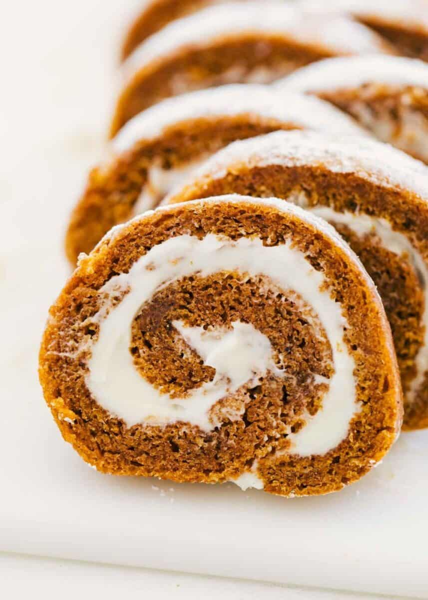 close up of sliced pumpkin roll
