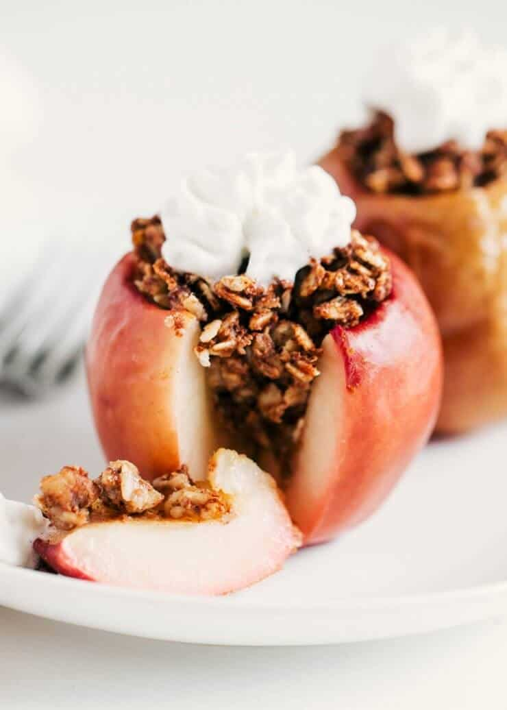 cinnamon oat baked apple that's cut open