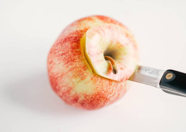 coring an apple with a pairing knife
