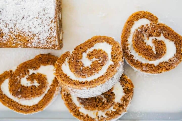 sliced pumpkin roll on cutting board