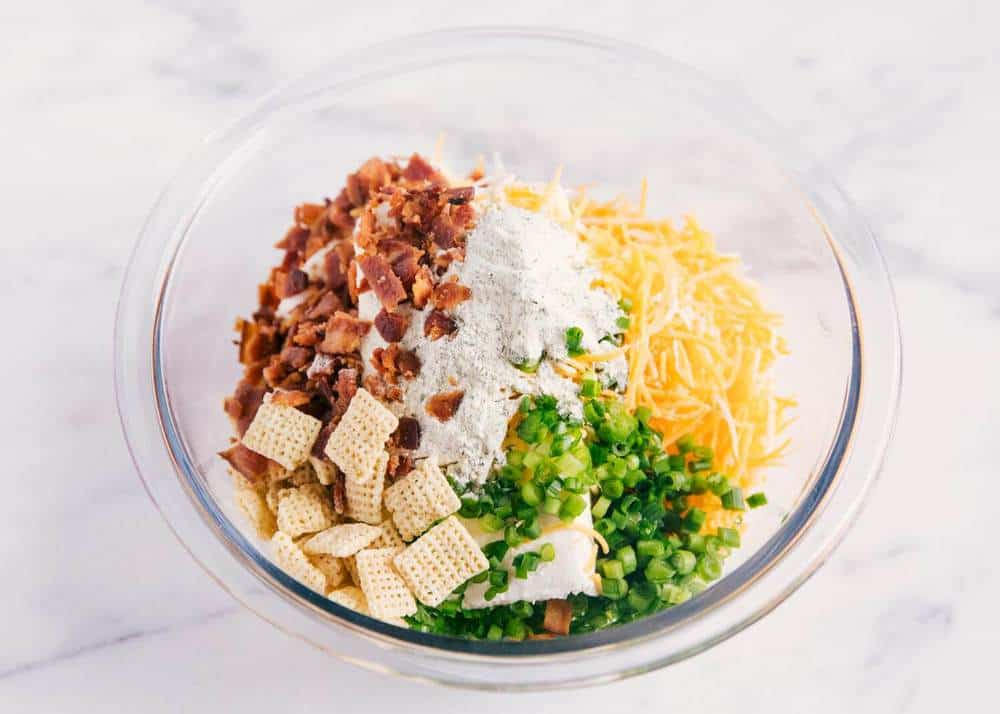 ingredients for bacon ranch cheese ball in a glass bowl