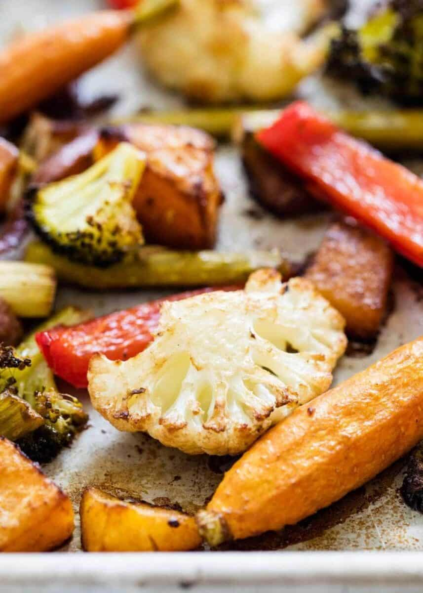 oven roasted veggies on a baking sheet