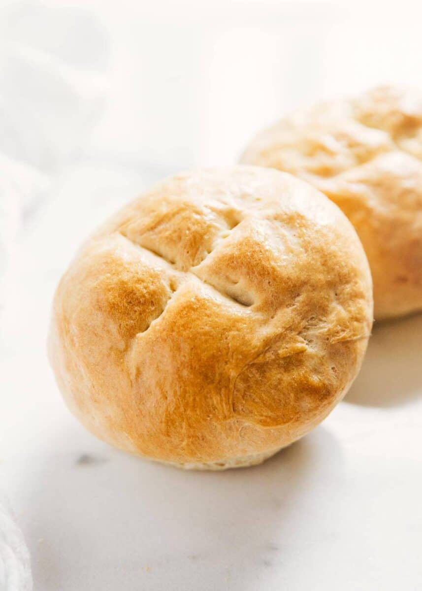 homemade bread bowl with an X on top
