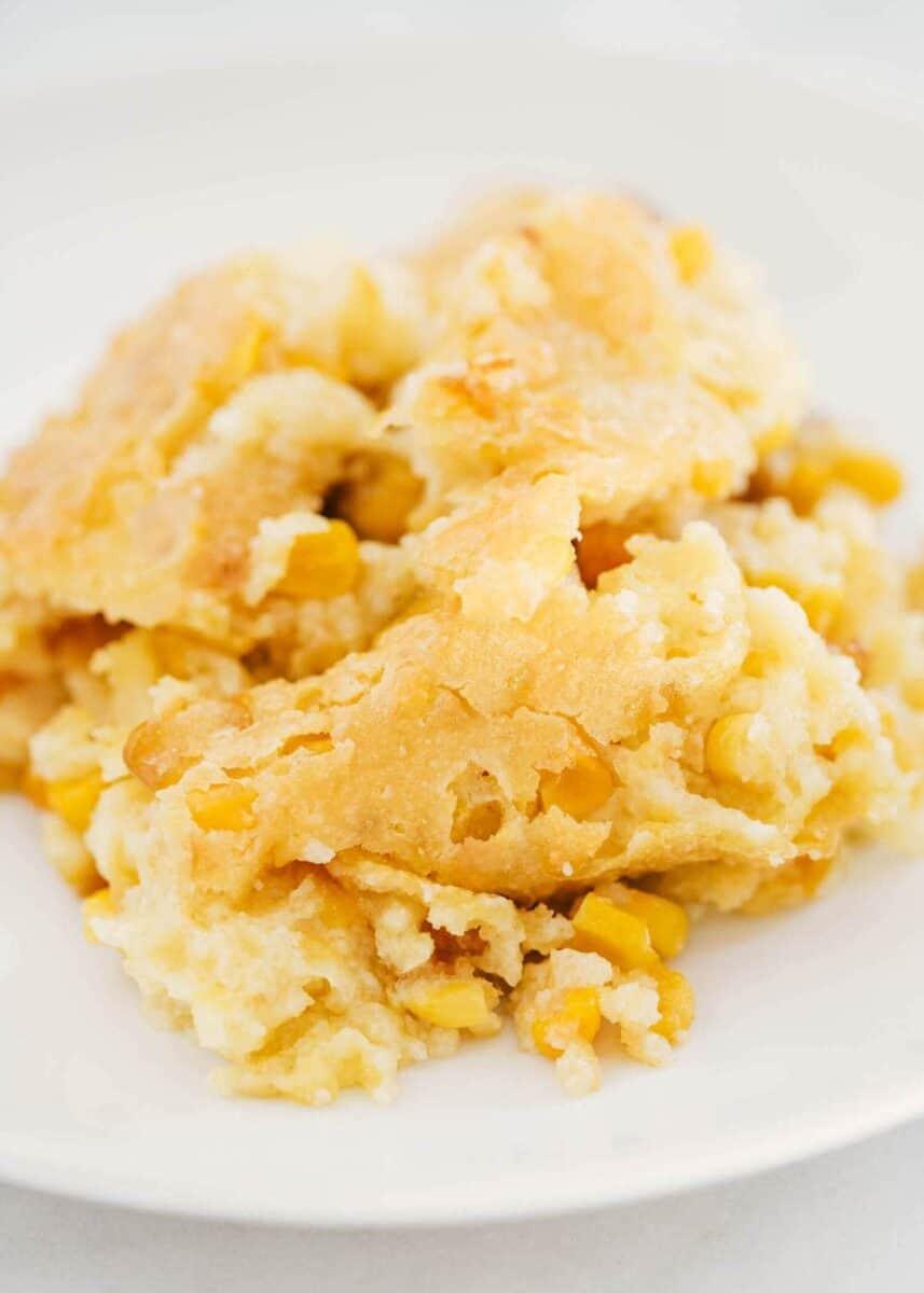 corn casserole on plate