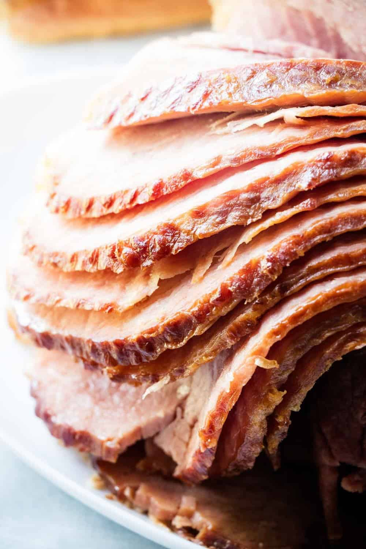 slices of crockpot spiral ham