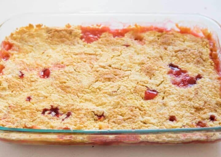 cherry dump cake in baking pan