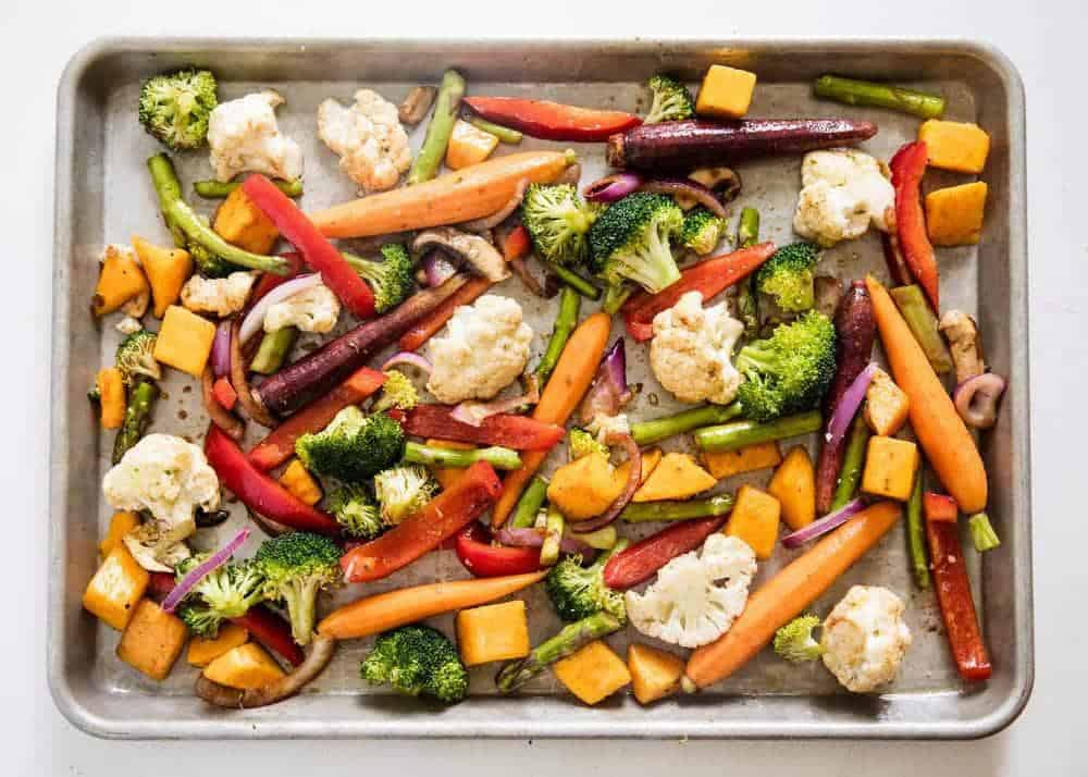 oven roasted vegetables on baking sheet