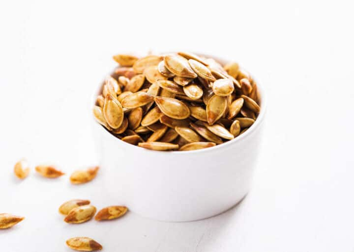 bowl of roasted pumpkin seeds