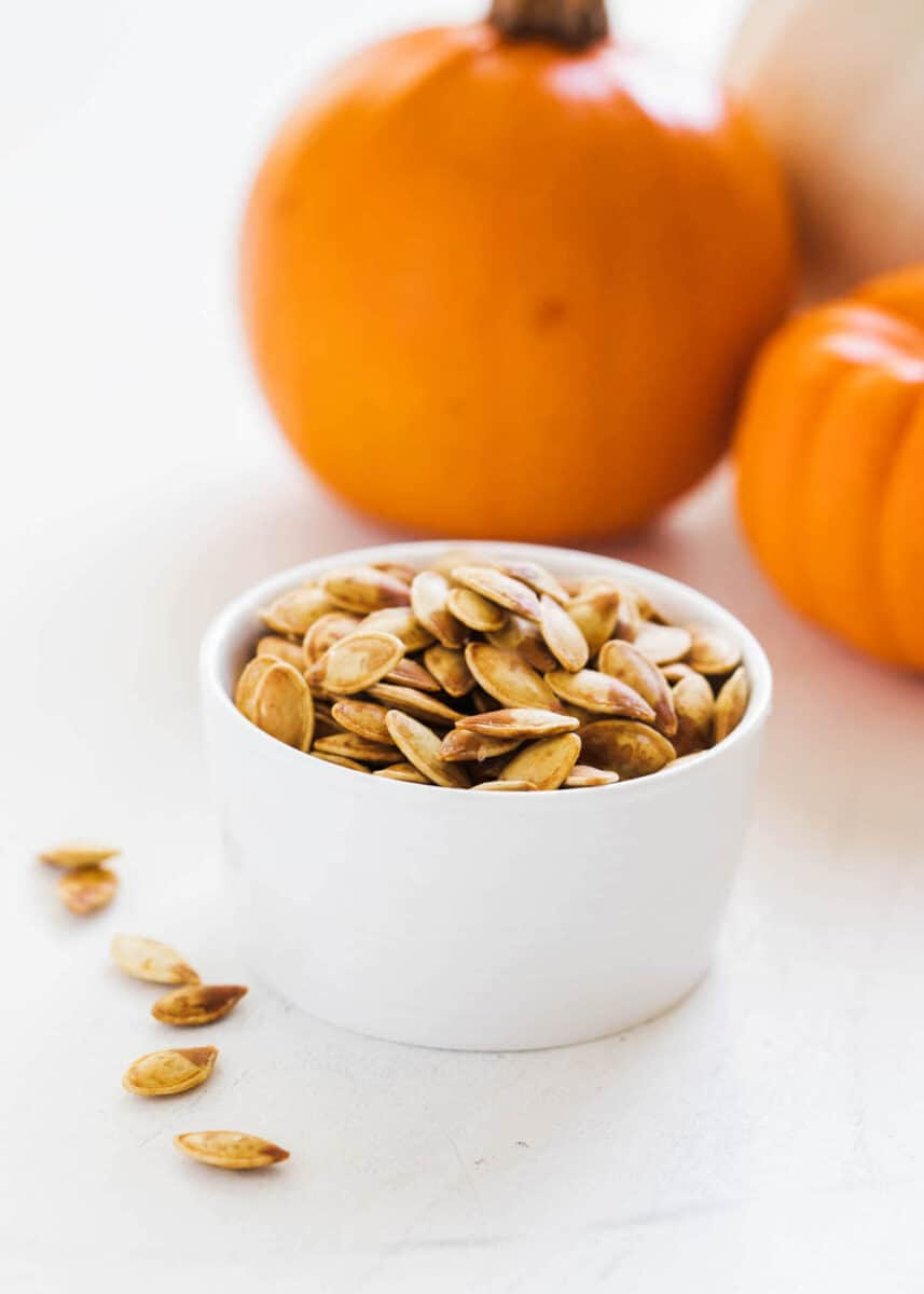 roasted pumpkin seeds in bowl