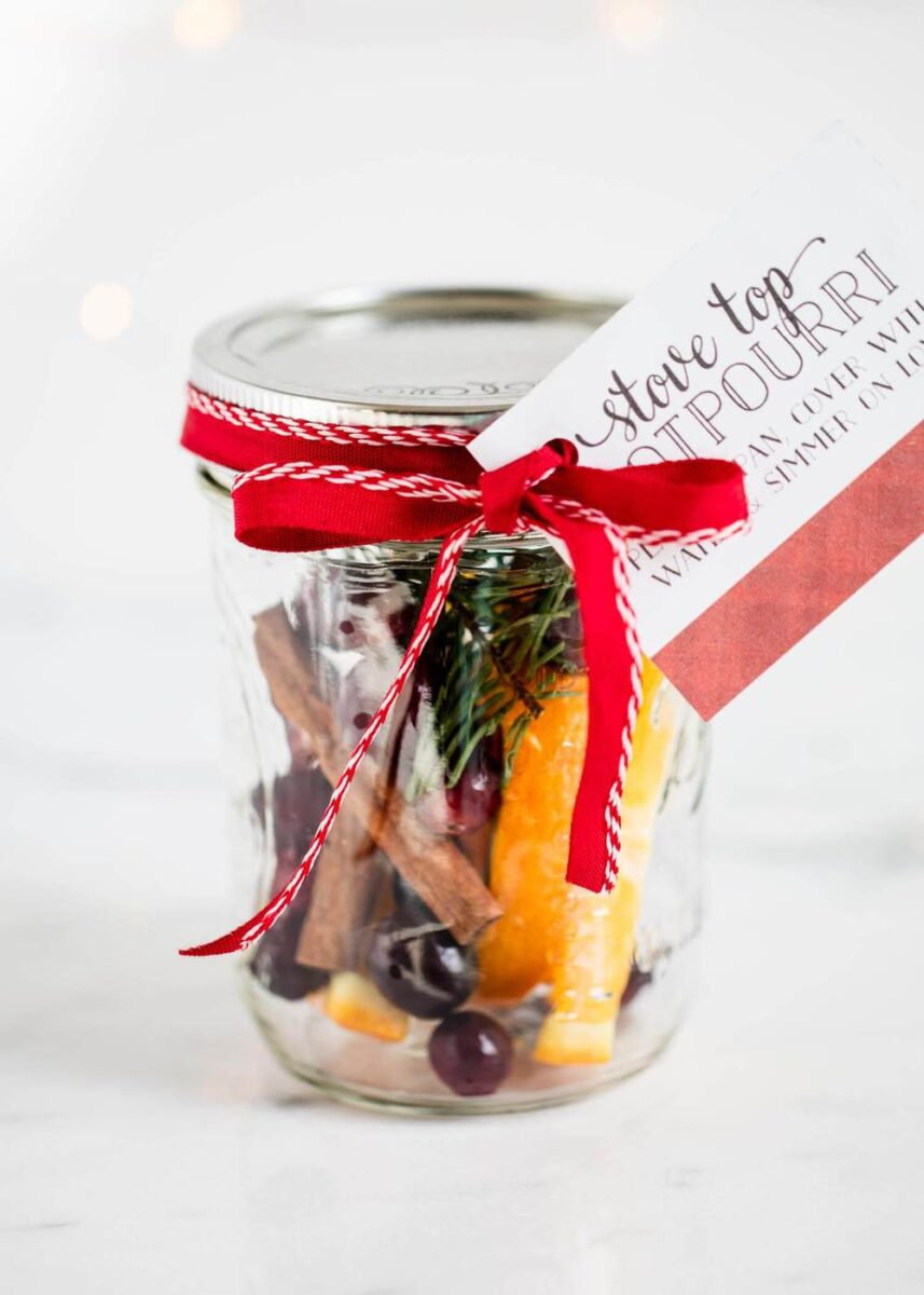 christmas potpourri in jar with ribbon and tag