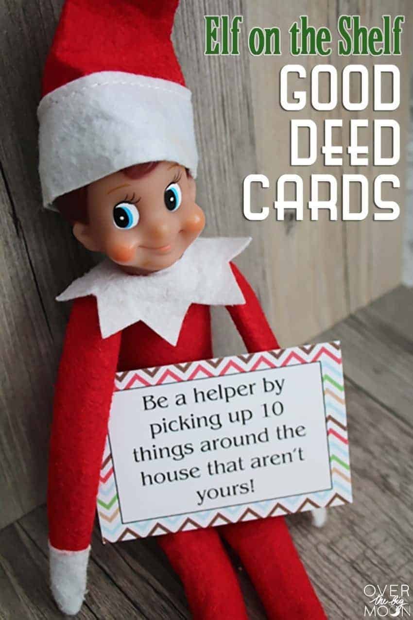 Elf on the shelf good deed card