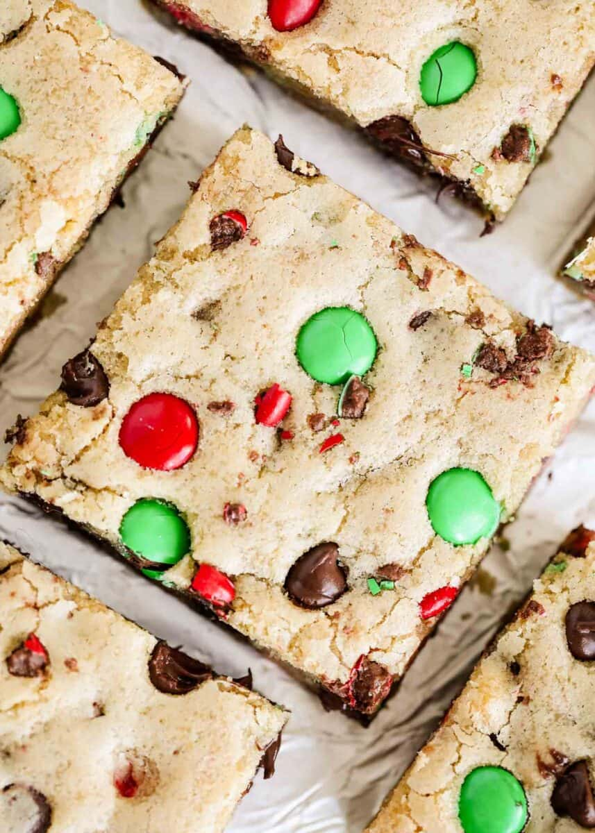 close up of M&M cookie bars