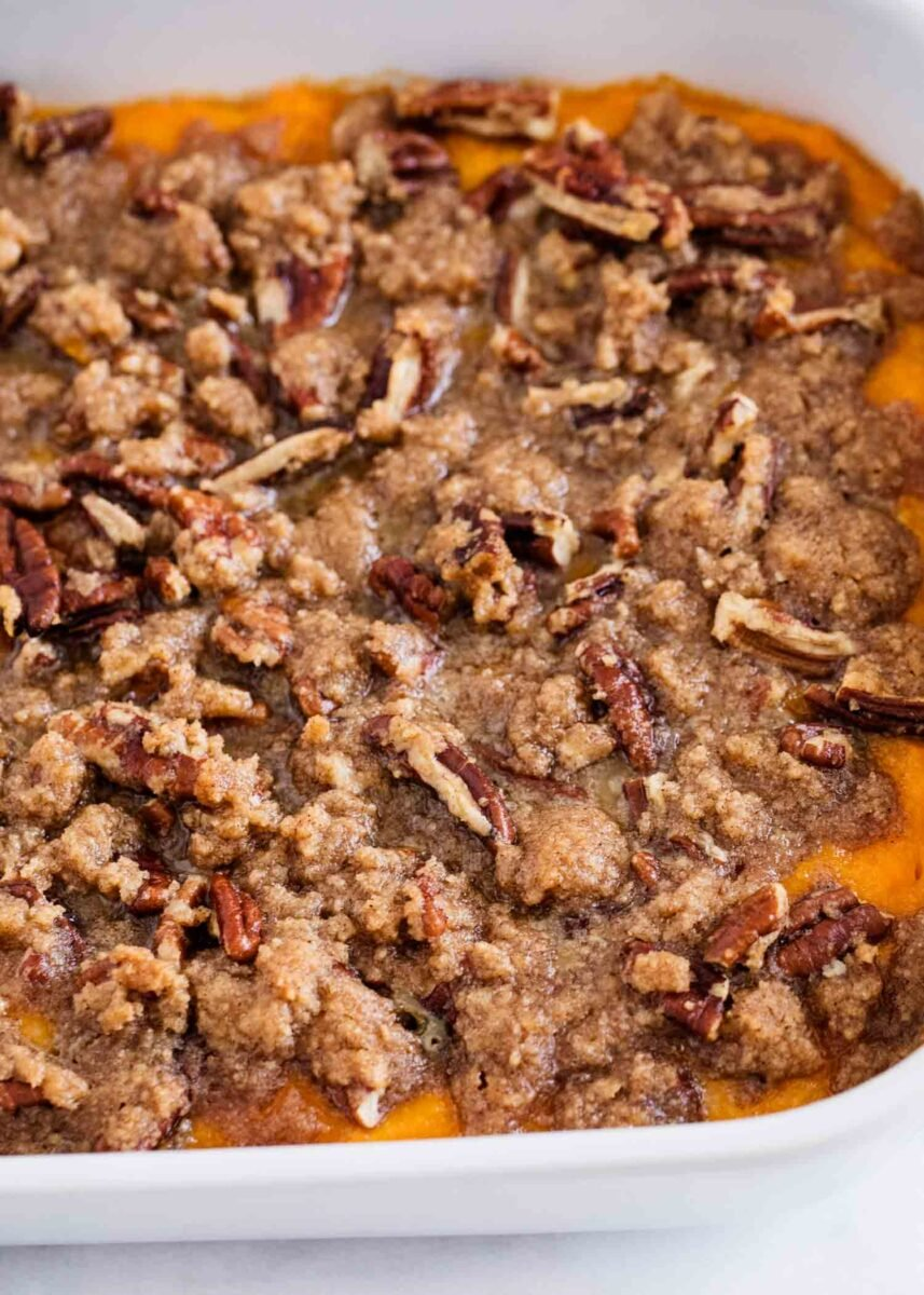 sweet potato casserole in baking dish