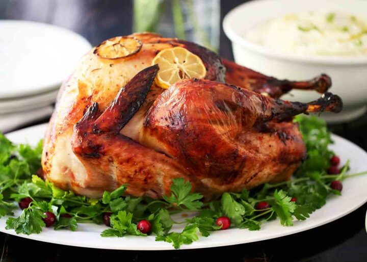 roasted turkey on white platter