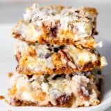 stack of 7 layer magic bars on a plate