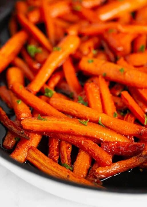 brown sugar carrots in pan