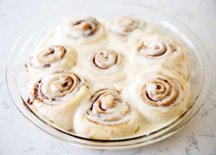 cinnamon rolls in glass dish
