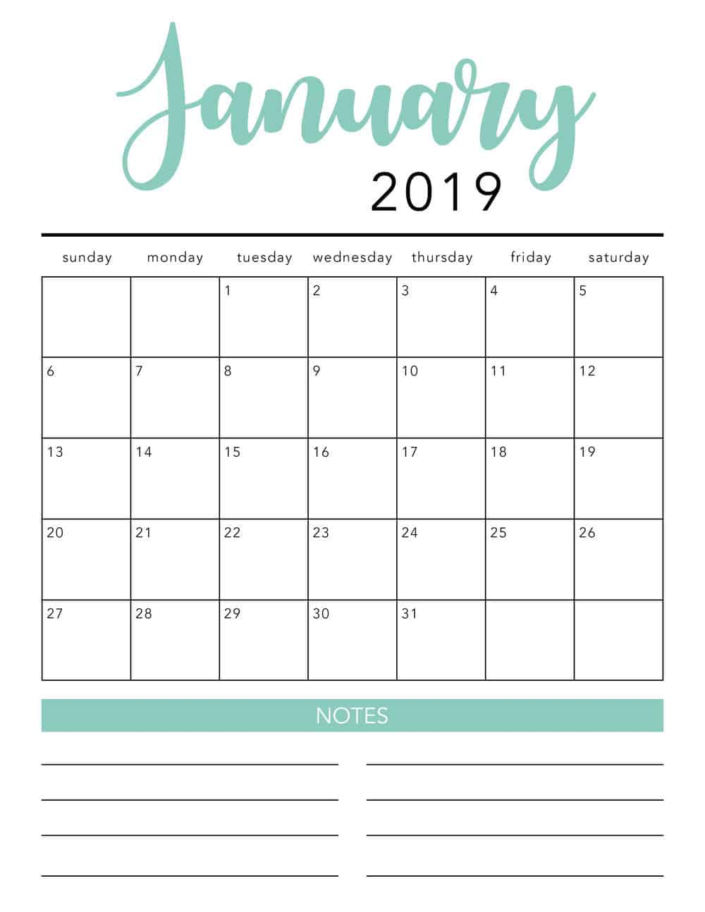 Free 2019 Printable Calendar Template 2 Colors I Heart Naptime