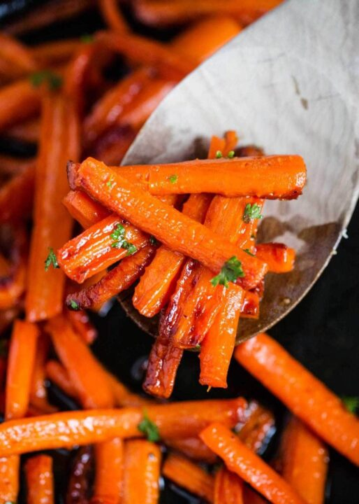 spoonful of glazed carrots