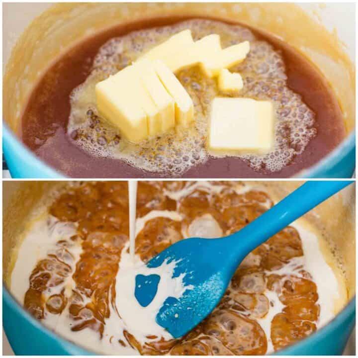 boiling caramel sauce in pan