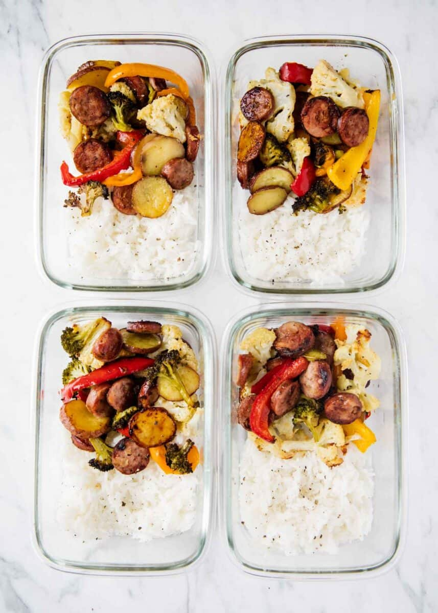 sausage and veggies in meal prep containers with rice