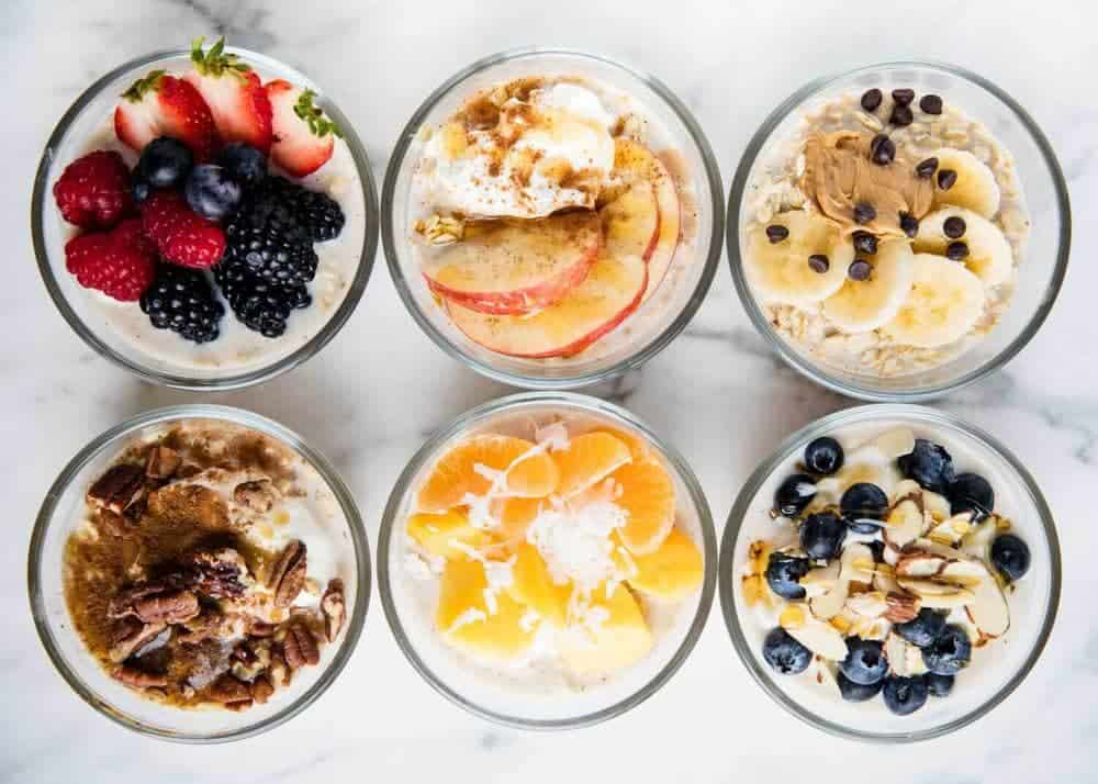 6 bowls of different overnight oats combinations