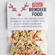 bag of reindeer food with a poem label on top