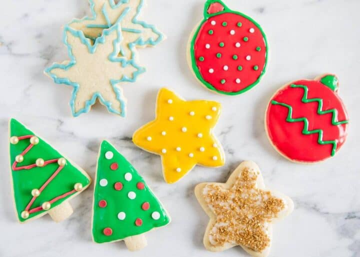 decorated Christmas sugar cookies on counter