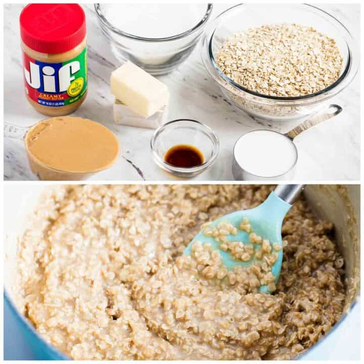mixing together ingredients for peanut butter no bake cookies