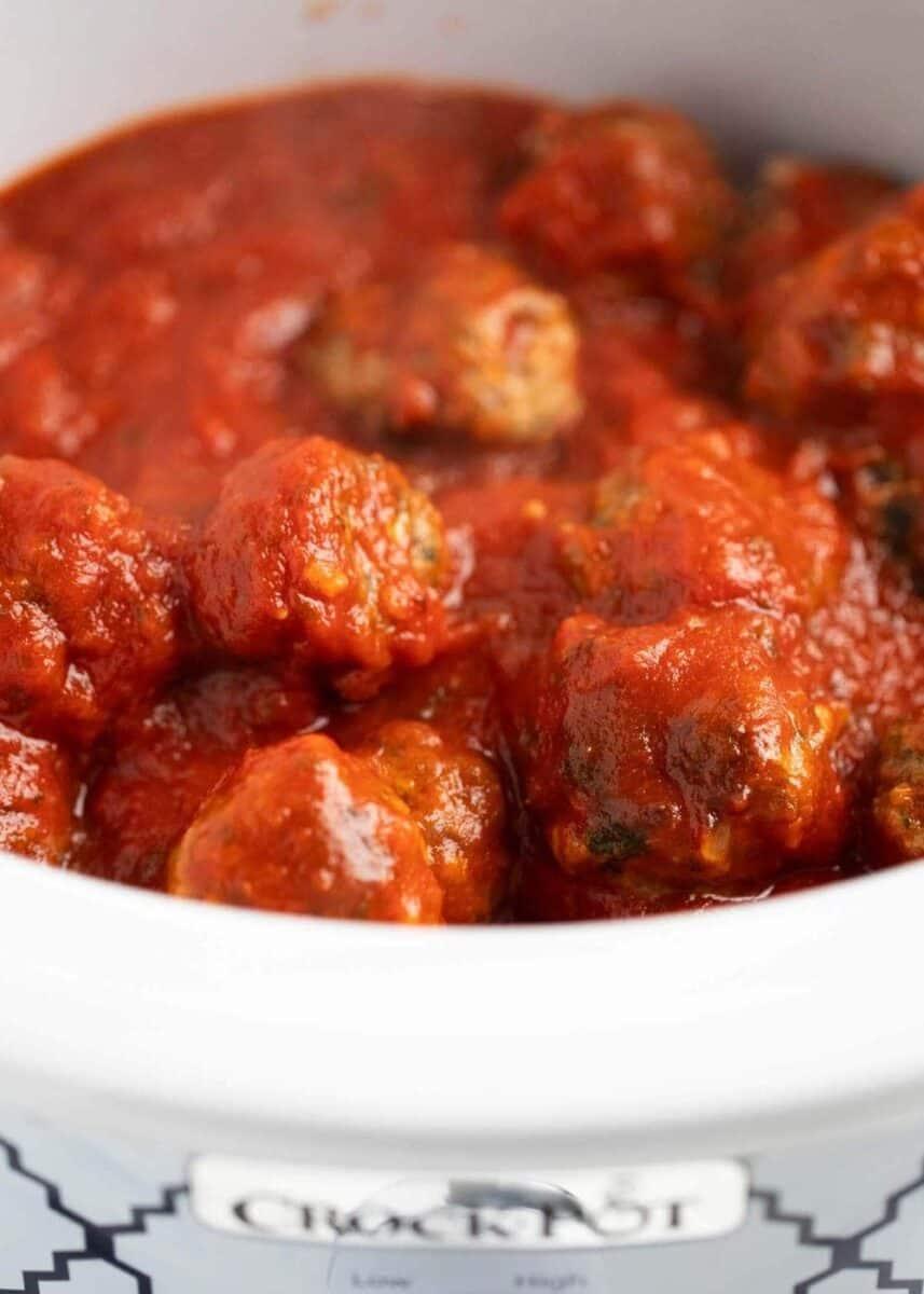 meatballs and marinara in crockpot