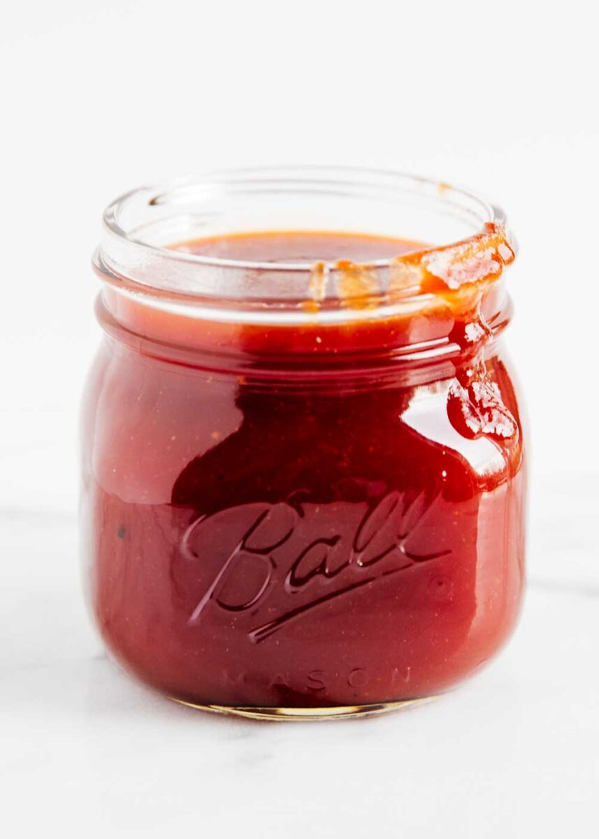 homemade bbq sauce in glass jar