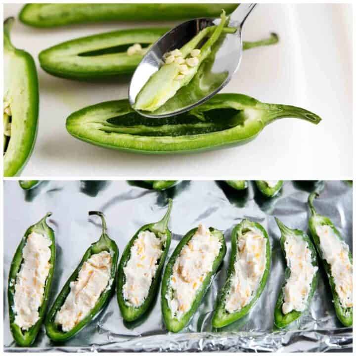 removing seeds from sliced jalapenos
