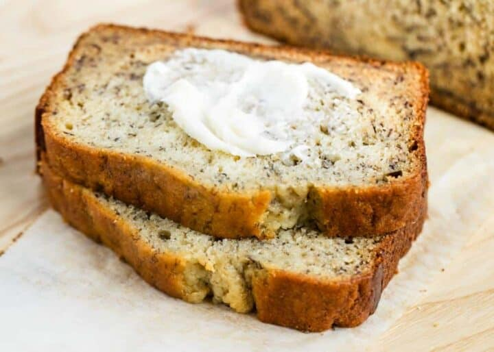 piece of banana bread with butter on top