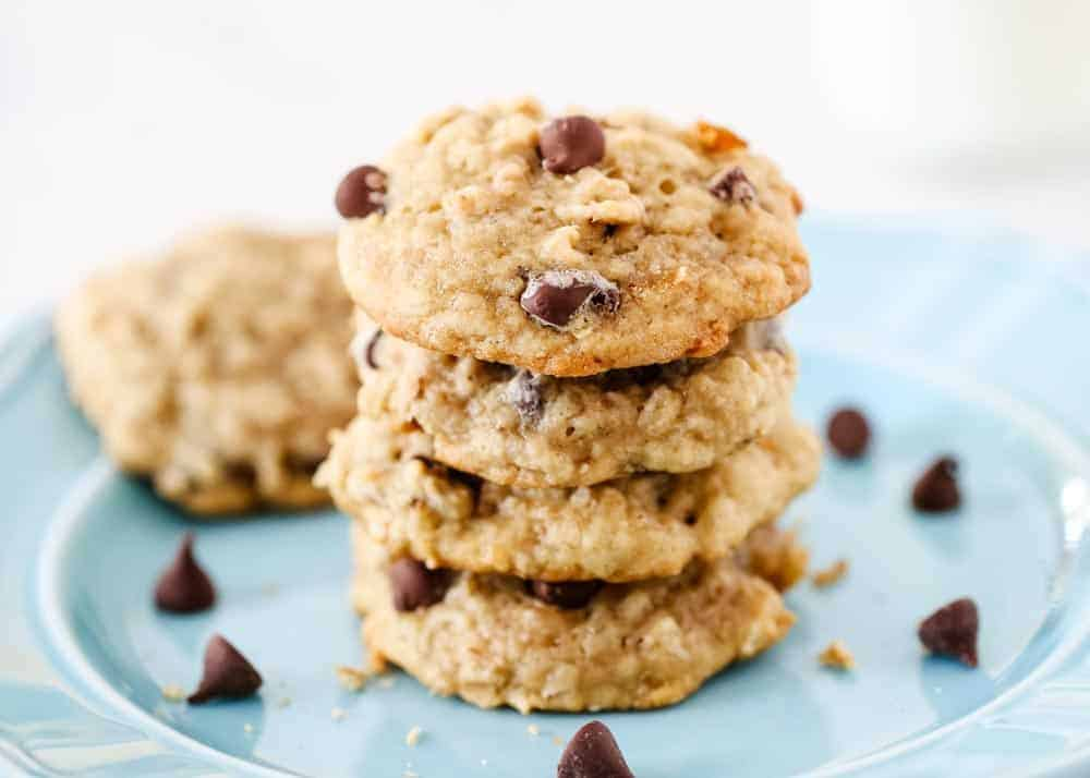 stack of banana chocolate chip cookies on blue plate